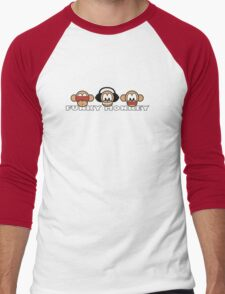 cartoon style three funky monkey Men's Baseball ¾ T-Shirt