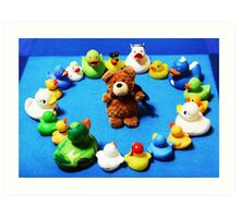 Benny Bear in Duck Blessing Circle Art Print