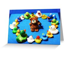 Benny Bear in Duck Blessing Circle Greeting Card
