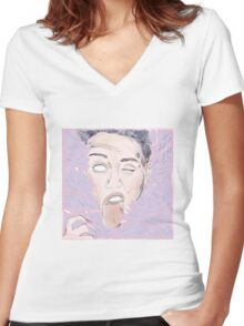 Miley Cyrus portrait Women's Fitted V-Neck T-Shirt