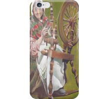 Old Irish Woman Sitting At A Spinning Wheel iPhone Case/Skin