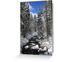 Mountain River Winter Landscape Greeting Card
