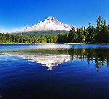 The Mount Hood reflection in Trillium Lake  by tusharkoley