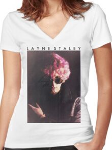 """L A Y N E  S T A L E Y"" Women's Fitted V-Neck T-Shirt"