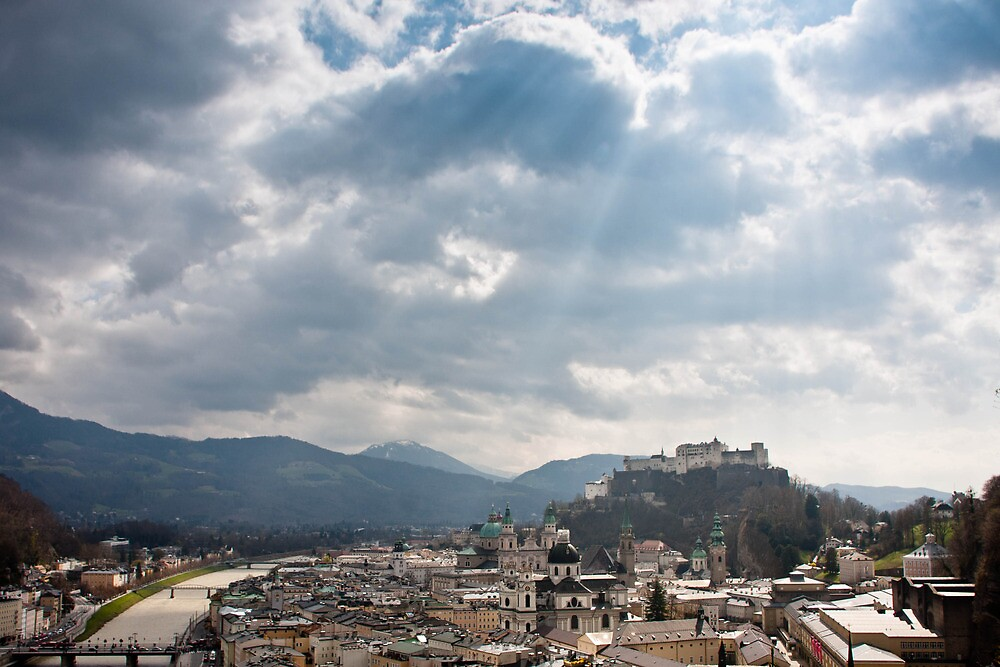 Light Rays Over Salzburg by Ming Jun Tan