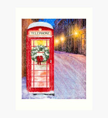 Very British Christmas - Cheerful Red Telephone Booth Art Print