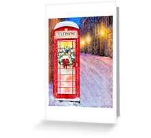 Very British Christmas - Cheerful Red Telephone Booth Greeting Card