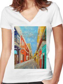 Old San Juan Women's Fitted V-Neck T-Shirt