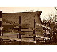 Barn and fence in sepia Photographic Print
