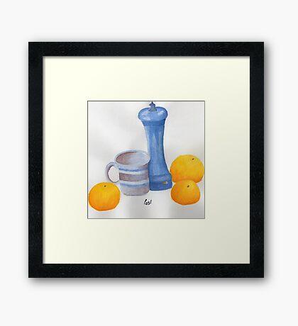 Still Life - Cup, Pepperpot & Oranges Framed Print