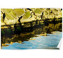 Rocks and Blue Sky Reflections Poster