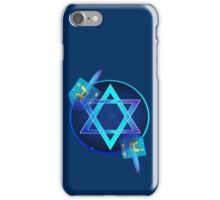 Bright Star and Blue Dreidels iPhone Case/Skin