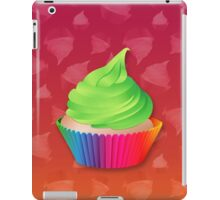 Cute Green Frosted Vanilla Cupcake in Rainbow Cup iPad Case/Skin
