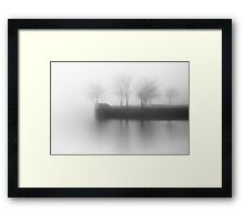A foggy morning at the dock. Framed Print