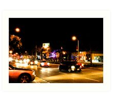 Late night traffic in West Hollywood Art Print