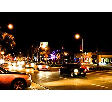 Late night traffic in West Hollywood Photographic Print