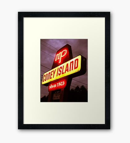Small Town Coney Island Framed Print