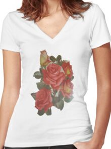 Vintage Roses Ladies Shirt Women's Fitted V-Neck T-Shirt