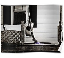 Little Amish Girl on Front Porch Swing Poster