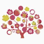 tree of life - pink & yellow by offpeaktraveler