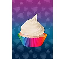 Cute White Frosted Vanilla Cupcake in Rainbow Cup Photographic Print