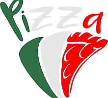 flag Italy eating pizza salami tasty colors by Style-O-Mat