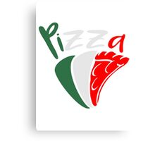 flag Italy eating pizza salami tasty colors Canvas Print