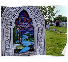 Stained Glass Tombstone in Color Poster