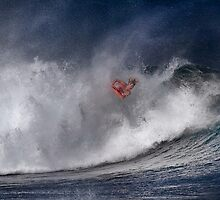 Bodyboarder At Banzai Pipeline 2011.3 by Alex Preiss
