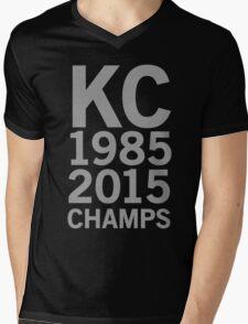 KC Royals 2015 Champions LARGE GRAY FONT Mens V-Neck T-Shirt