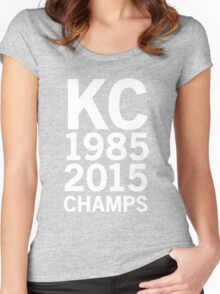 KC Royals 2015 Champions LARGE WHITE FONT Women's Fitted Scoop T-Shirt