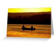three men in a boat Greeting Card