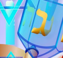 Blue Glass Dreidel-Happy Hanukkah Sticker