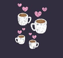 Four coffee cups with love hearts (distressed version) Unisex T-Shirt