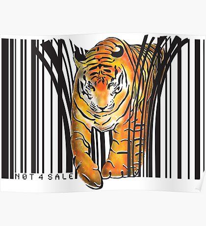 ENDANGERED TIGER BARCODE illustration print Poster