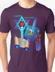 Blue Glass Dreidel-Happy Hanukkah Unisex T-Shirt