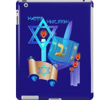 Blue Glass Dreidel-Happy Hanukkah iPad Case/Skin
