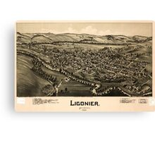 Panoramic Maps Ligonier Pennsylvania 1900 Canvas Print