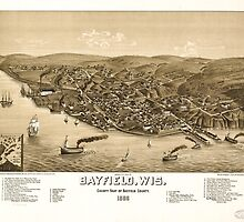 Panoramic Maps Bird's eye view of Bayfield Wis county seat of Bayfield County 1886 by wetdryvac