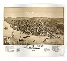 Panoramic Maps Bird's eye view of Bayfield Wis county seat of Bayfield County 1886 Poster