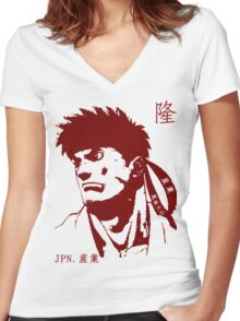 Ryu 隆 - The Spiritual Warrior Women's Fitted V-Neck T-Shirt