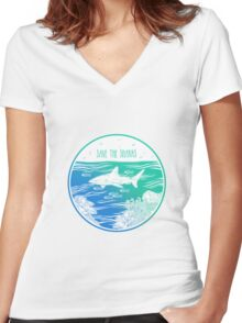 Save the Sharks! Women's Fitted V-Neck T-Shirt