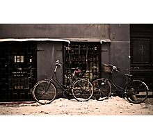 Bicycles in the Snow Photographic Print
