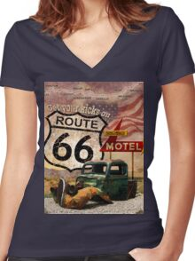 Get your Kicks on Route 66 Women's Fitted V-Neck T-Shirt