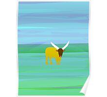Bull on a Landscape Poster