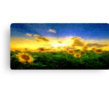 Sunrise Sun Flowers Oil Painting Canvas Print