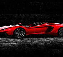 Lamborghini Night Oil Painting by Fred Seghetti