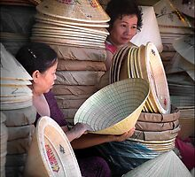Hat Traders In Hue City, Vietnam by Karl Willson