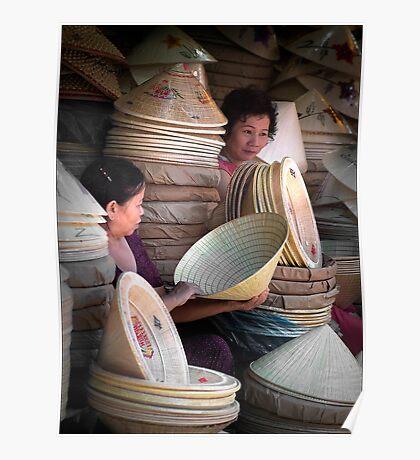 Hat Traders In Hue City, Vietnam Poster