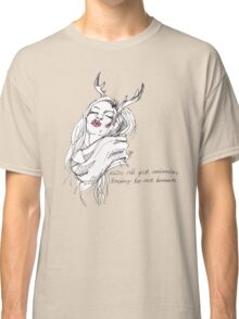 we're all just animals, trying to act human (black on white) Classic T-Shirt